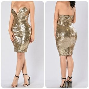 FASHION NOVA So Over You Dress Gold
